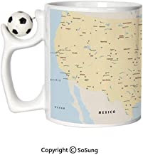 Map Sports Football Mug,United States Interstate Map America Cities Travel Destinations Road Route Decorative Ceramic Coffee Cup,Yellow Red Light Blue,Great Novelty Gift for Kids & Audlt