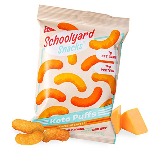 Schoolyard Snacks Low Carb Keto Cheese Puffs - Cheddar Cheese - High Protein - All Natural - Gluten & Grain-Free - Healthy Chips - Low Calorie Food - 12 Pack Single Serve Bags - 100 Calories