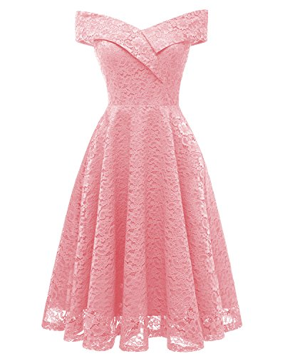 ANCHOVY Womens Floral Lace Cocktail Party Dress Vintage Off Shoulder Bridesmaid Swing Dress C79 (Pink, M)