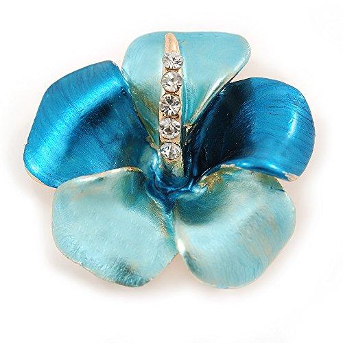 Avalaya Light Blue/Teal Enamel, Crystal Flower Brooch in Gold Plating - 30mm Across