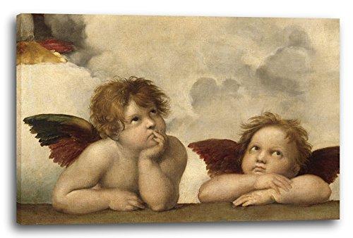 Printed Paintings Leinwand (100x70cm): Raphael - Sixtinische Madonna, Zwei Engel