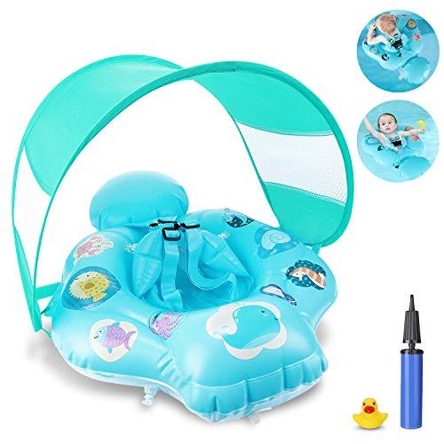 Magicfun Flotador Bebé, Flotador Hinchable Bebe de Piscina y Playa con Toldo y Asiento Seguro, Anillo de Natación Baby Float para 6-36 Meses