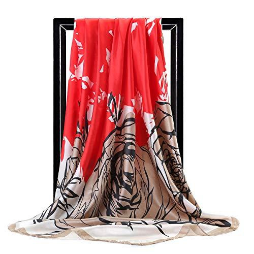 WEJNNI nagemaakte zijden sjaal 90 cm groot vierkant elegant dames groen sap oranje moslimische headfemale