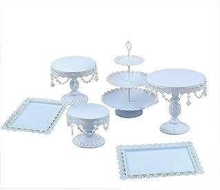 Kaibrite Lot de 6 présentoirs à gâteaux ronds vintage en métal avec perles de cristal pour anniversaire, fête, mariage, blanc