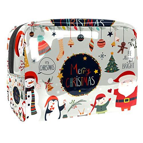 Merry Christmas Party 18,5 x 7,6 x 13 cm, organizador de artículos de tocador grande para mujeres y niñas, bolso de mano de PVC para cosméticos
