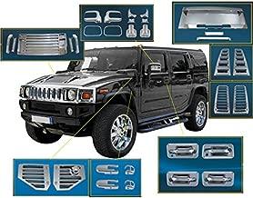ZMAUTOPARTS Door Handle Mirror Hood Deck Vent Cover Trim 36Pcs Combo Chrome For 2006-2009 Hummer H2