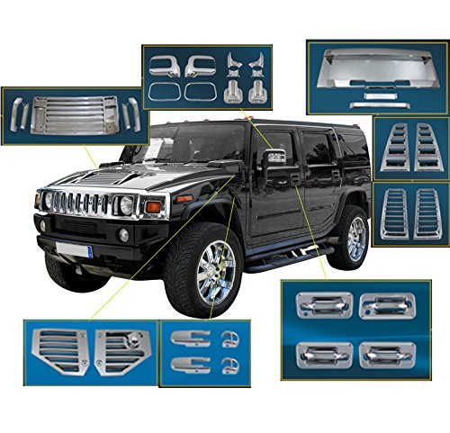 ZMAUTOPARTS Door Handle Mirror Hood Deck Vent Cover Trim 36Pcs Combo Chrome For 2006-2009 Hummer H2
