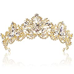 ♔ Every girl deserves to feel like a princess/queen on her important occasion. This stunning rhinestone crown will make your dream come true ♔ Material: Made of high quality clear crystals in Gold-plated metal setting, eco-friendly,Alloy is with diam...