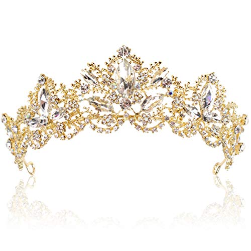 Exacoo Gold Tiara Wedding Tiaras and Crowns for Women,Rhinestone Queen Tiara for Women Princess Crown Birthday Tiara Headbands for Wedding Prom Bridal Party Halloween Costume Christmas Gifts