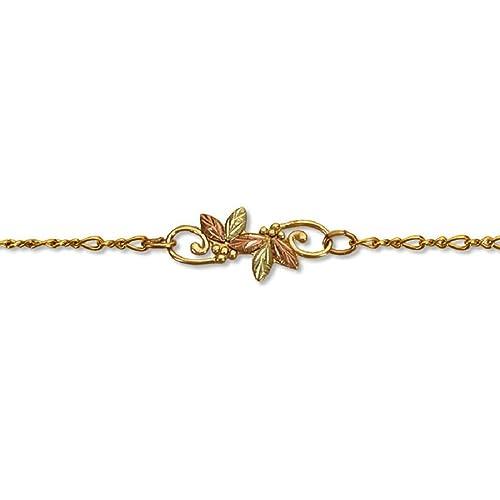 G L07266A Landstroms 10k Black Hills Gold Ankle Bracelet with Leaves and Grapes