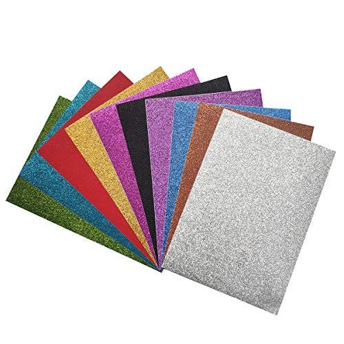 Gnognauq 10 Hojas Cartulinas Adhesivas Brillantes Papel Pegatina para Manualidades DIY Artcraft Trabajo Álbumes de Recortes (Mezcla de colores)