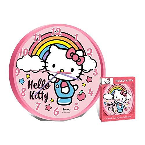 SRV Hub – Kinder-Lizenzprodukt Hello Kitty Wanduhr geeignet für Kinderzimmer Dekoration