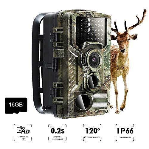 AMTSEE Wildkamera 16MP 1080P Infrarot 20m Nachtsicht Jagdkamera mit 2.0'' LCD Display, IP66 Wasserdichtes Tragbar Outdoor Überwachungskamera für Jagd, Sicherheit zu Hause und Tierüberwachung