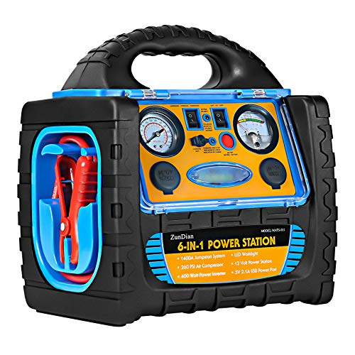 ZunDian 1400A Peak 12V Car Jump Starter, Portable Power Station Backup Battery Booster Dual AC/DC Ports Inverter with 260 PSI Air Compressor Tire Inflator, 2.1A USB Port, Battery Clamps - 6 in 1