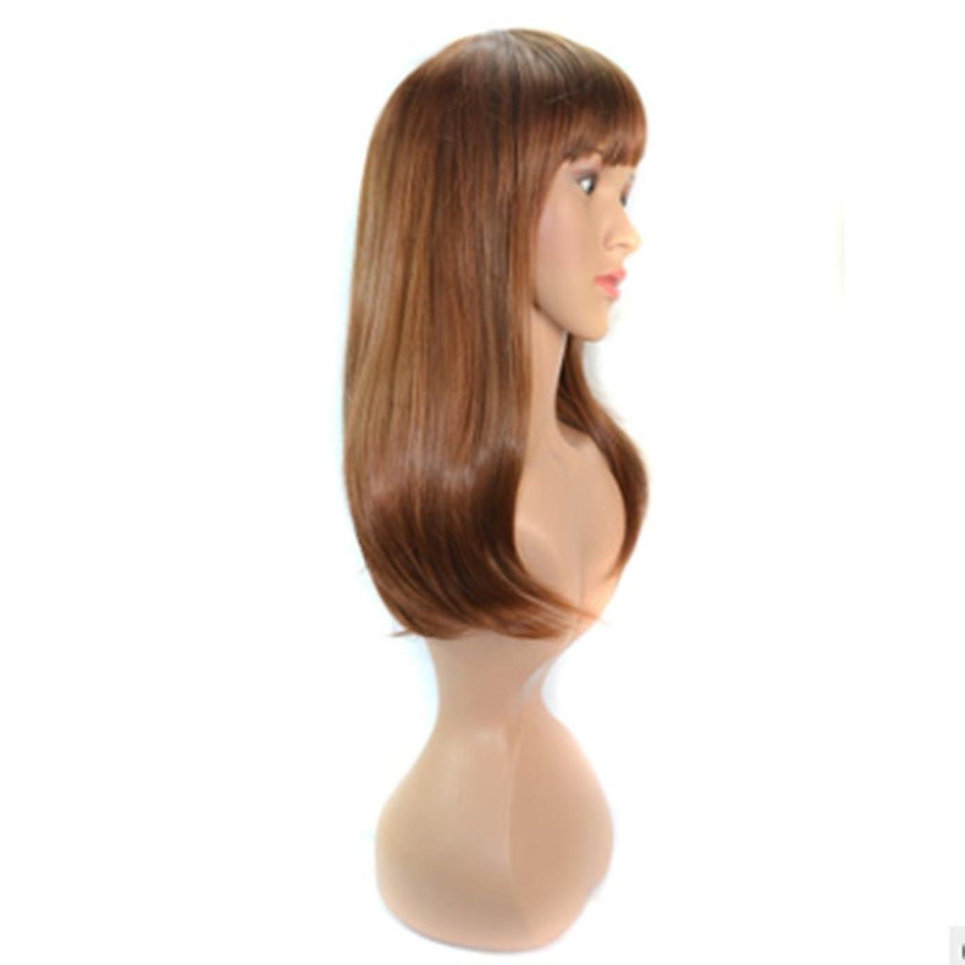 保持する未知のかけがえのないDoyvanntgo 天然ゴールデンウィッグ-50cmロングストレートウィッグフラットバンズと若々しいかつら女性のためのリアルヘア (Color : Gold)