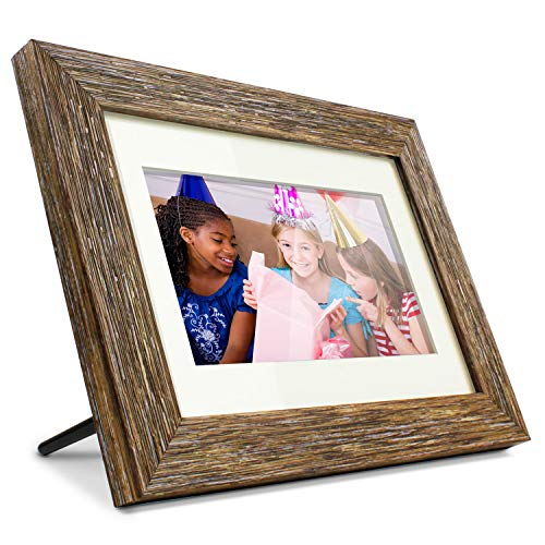 Aluratek 7' Distressed Wood Digital Photo Frame with Auto Slideshow Feature, 800 x 600 (ADPFD07F)