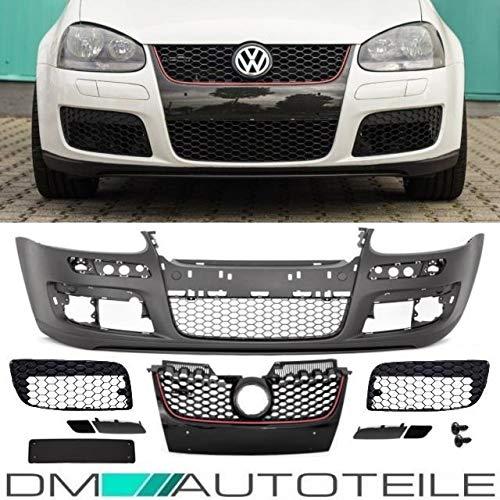 DM Autoteile Golf 5 GTI Stoßstange Vorne + Wabengrill Schwarz GTI + Gitterset ohne Nebel