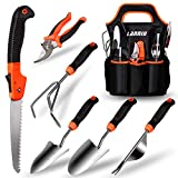 LANNIU Gardening Tool Set, Garden Tools Set Gift for Women and Men, Stainless Steel Heavy Duty Outdoor Hand Tools Kit with Soft Rubberized Non-Slip Ergonomic Handle Storage Tote Bag