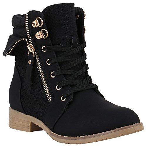 stiefelparadies Damen Stiefeletten Schnürstiefeletten Worker Boots Zipper Schuhe 142053 Schwarz Autol 39 Flandell