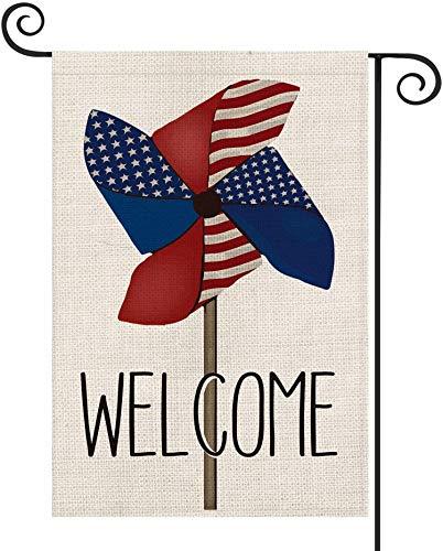 Patriotische Begrüßung Windrad Amerikanische Flagge Gartenflagge Doppelseitig, 4. Juli Gedenktag Unabhängigkeitstag Hof Außendekoration, 12,5