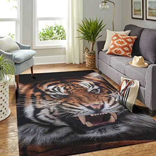 Veryday Alfombra de tigre con animales vintage, para salón, como felpudo para la puerta del hogar, para dormitorio o pasillo, color blanco, 122 x 183 cm