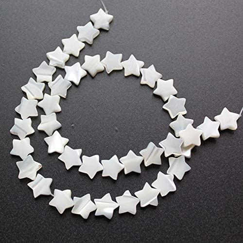Calvas 30Pc/Pack White Natural Mother of Pearl Shell Five-Pointed Star DIY Shell Beads for Women Jewelry Making Earrings Necklaces - (Item Diameter: 8MM)