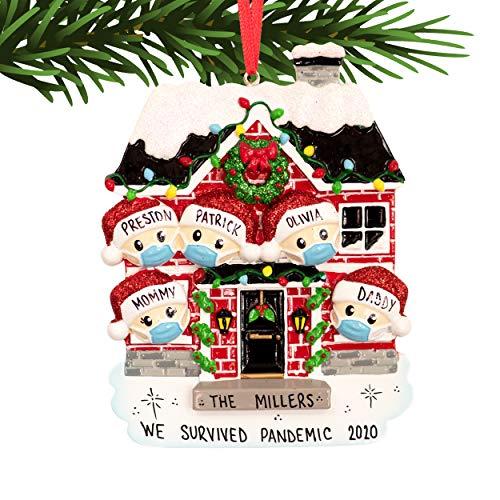 UniqXmas Survived Family of 5 People Personalized Christmas Ornament - Free Customization | Custom Quarantine Xmas Tree Decoration | Stay at Home Pandemic Isolation Keepsake