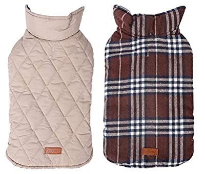 Morezi Cozy Waterproof Windproof Reversible British style Plaid Dog Vest Winter Coat Warm Dog Apparel for Cold Weather Dog Jacket for Double sided available - S - Brown
