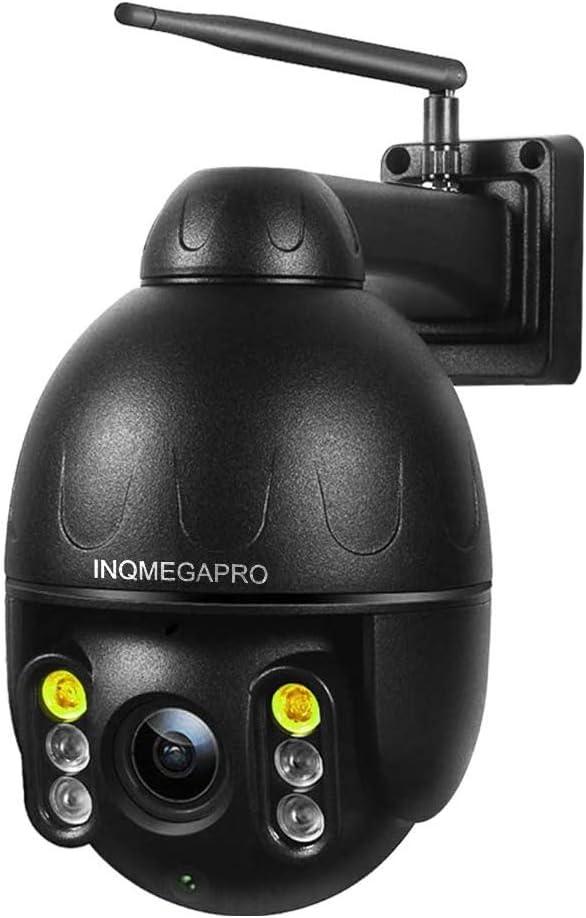 INQMEGAPRO PTZ Domo Cámara de Vigilancia Exterior WiFi Seguridad Inalámbrica HD 1080P IP66 Impermeable Cubierta Metálica, Audio Bidireccional, Visión Nocturna, Alerta de Detección de Movimiento, Negro