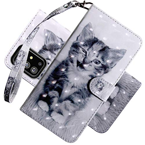 COTDINFOR case for Galaxy S20 FE Hülle Cover Flip 3D Painted Schutzhülle Bookcase Handy Tasche Schale mit Magnet Standfunktion Etui Handyhülle für Samsung Galaxy S20 FE Case Smiley Cat BX.