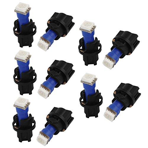 sourcingmap 10 Pièces Bleu T5 5050 SMD LED Tableau De Bord Voiture Lumières Ampoule Phare Intérieur