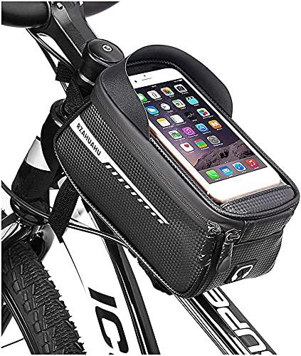 GXT Bolsa de teléfono móvil Mountain Road Bike Bike Bag Bag Front Head Bag Mobile Teléfono Impermeable Bolsa de Montar (2 PCS) Almacenamiento (Color : Black)