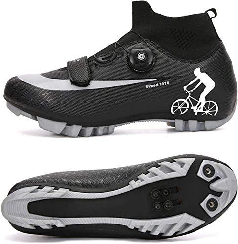 JINFAN Scarpe da Ciclismo MTB da Uomo,Scarpe da Mountain Bike con Serrature Scarpe per Sport Invernali da Uomo E da Donna/Suole in Nylon,Black-EU42