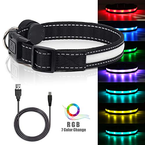 LED Safety Dog Collar - USB Rechargeable Light Up Pet Collar Adjustable Nylon Pet Collar with Metal Buckle Water Resistant Flashing Light- Makes Your Dog Visible, Safe & Seen