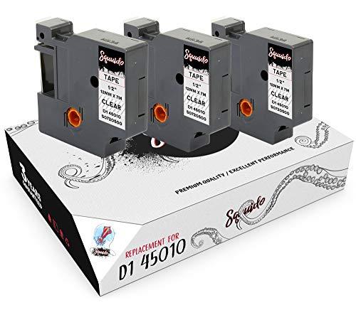 Squuido 3 Casetes de Cinta Negro en Transparente Etiquetas D1 45010 S0720500 12mm x 7m compatibles para Dymo LabelManager PnP 160 160P 210D 280 360D 420P 500TS MobileLabeler & LabelWriter 450 Duo