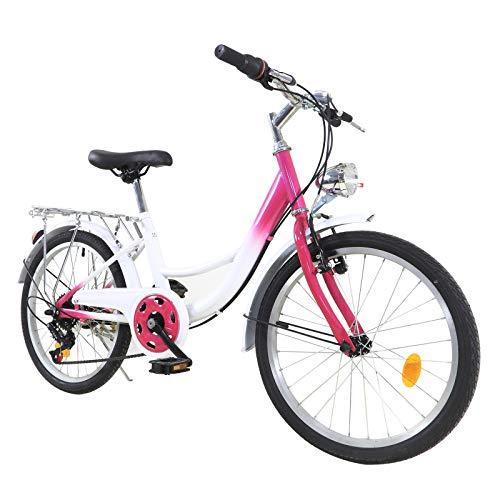 OUKANING Bicicleta para mujer de 20 pulgadas, 6 velocidades, bicicletas urbanas para mujer y niñas, marco de acero, con luz delantera iluminada, altura aplicable 110 cm-140 cm