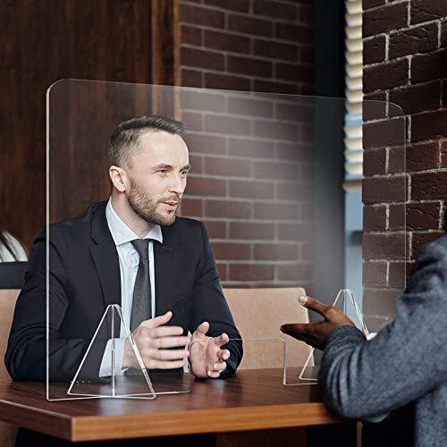 HLILY Thekenaufsatz Spuckschutz Aus Acrylglas Mit Durchreiche Hustenschutz Niesschutz,kompakt Leicht, Geeignet Als Thekenaufsteller- Selbststehender Aufsteller 60 X 60cm
