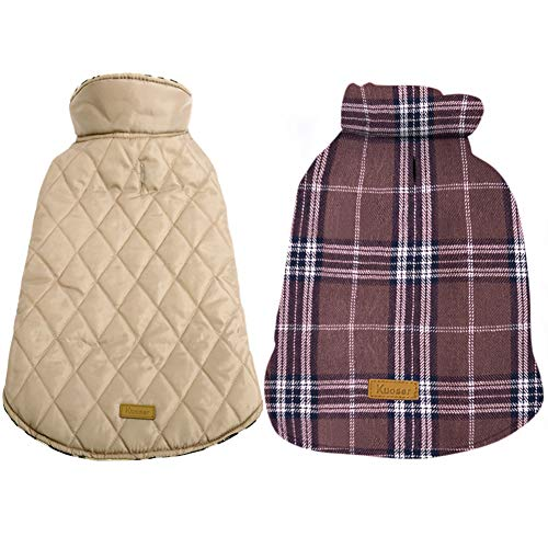 Kuoser Cozy Waterproof Windproof Reversible British Style Plaid Dog Vest Winter Coat Warm Dog Apparel Cold Weather Dog Jacket Small Medium Large Dogs Furry Collar (XXS - 4XL),Brown XS