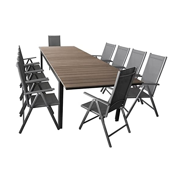 Wohaga Elegante Sitzgarnitur 11-teilig Sitzgruppe Gartengarnitur Gartenmöbel Terrassenmöbel Set Aluminium Polywood…