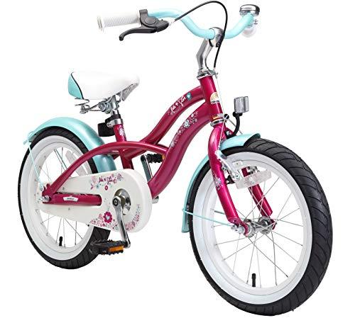 """BIKESTAR Bicicletta Bambini 4-5 Anni Bici Bambino Bambina 16 Pollici Freno a Pattino e Freno a retropedale 16"""" Cruiser Edition Viola"""