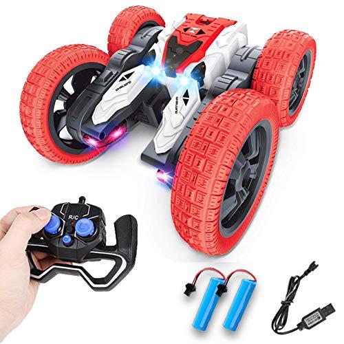 CESHMD Ferngesteuertes Auto 2,4 GHz 4WD mit LED, Kindergeschenk Wiederaufladbar RC Stunt Auto High Speed Rennauto mit 360° Rotation und 180° Flip für Kinder Jungen Mädchen Erwachsene (Rot)