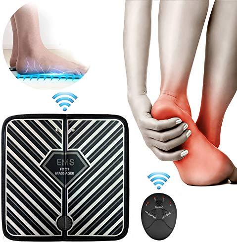 LEMENG EMS Massaggiatore Elettrico per Piedi,Elettrico massaggiatore Plantare Macchina,Massaggiatore Portatile, Stimolatore Muscolare con 1-10 Livelli di Intensità