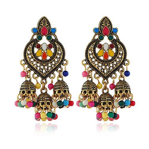 WOWOWO Retro India Bollywood Kundan Jhumka Jhumki Pendientes de Gota Joyería de Moda Gitana