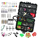 HiBD 218PCS Fishing Tackle Kit Fishing Box Including Jig Hooks, Bullet Bass Casting Sinker Weights, Fishing Swivels Snaps, Sinker Slides, Fishing Line Beads, Fishing Accessories Kit with Tackle Box