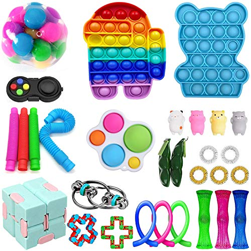 ZhaZhaMeng Fidget Spielzeug Packung Sinnes Fidget Spielzeug Fidget Spielzeug-Set Figetgets Spielzeug Packung Fidget Box Fidget Pack-Geschenke für KidsAdults mit Autismus (30Pc Toy A)