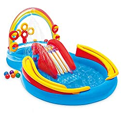 Young Children Who May Be Too Small For Big Pools Can Still Have Lots Of Fun With This Intex Rainbow Ring Inflatable Play Center