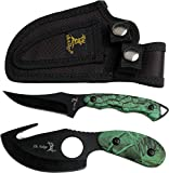 Elk Ridge - Outdoors 2-PC Fixed Blade Hunting Knife Set - Black Stainless Steel Skinner and Gut Hook Blades, Camo Coated Nylon Fiber Handles, Nylon Sheath - Hunting, Camping, Survival - ER-300CA, 7-Inch/6.5-Inch Overall