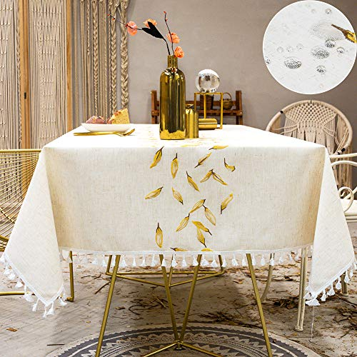 Mantel Cuadrado Impermeable Algodon Lino con Borlas Mantel Antimanchas 140x140 cm Waterproof Table Cloth Square para Mesa de Comedor