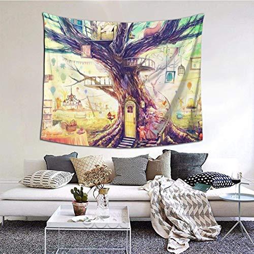 Tapiz de pared ancha con diseño de calavera fresca para colgar en la pared del dormitorio, sala de estar de 152 x 152 cm, pintura de árbol Fantasyr