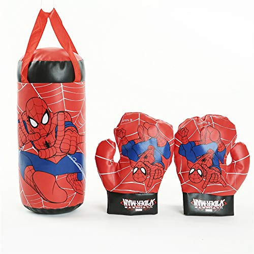 GTYMFH Jeu de Boxe Gant pour Enfants Sac de poinçonnage Set Cadeau d'anniversaire Boxing Sports de Plein air Jouets Parent-Enfant Interaction Spiderman Boxing Set s'entraîner